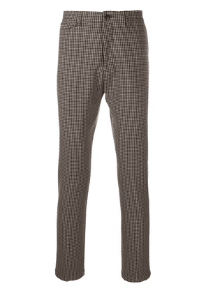 Closed houndstooth-pattern tailored trousers - Brown