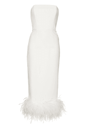 16Arlington Minelli feather-trim strapless midi dress - White