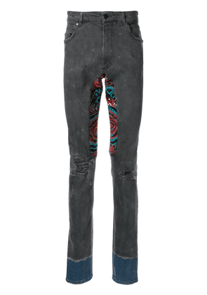 Alchemist embroidered patchwork skinny jeans - Blue