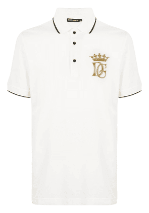 Dolce & Gabbana embroidered logo polo shirt - White