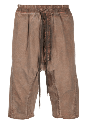 Isaac Sellam Experience distressed stitch detail shorts - Brown