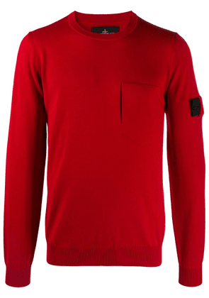 Stone Island Shadow Project virgin wool-silk blend logo patch jumper with front patch pocket - Red