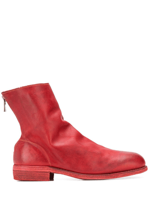 Guidi grained-effect ankle boots - Red