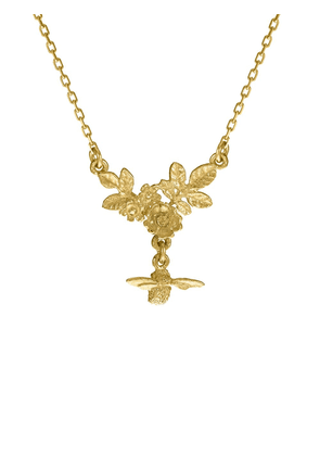 Alex Monroe 18kt yellow gold bee drop floral cluster necklace