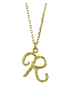 Alex Monroe 18kt yellow gold Enchanted Twig Alphabet R necklace