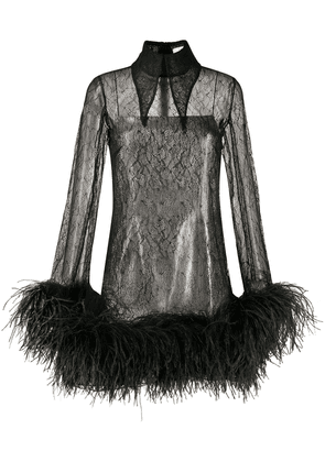 16Arlington feather-trimmed lace shirt dress - Black