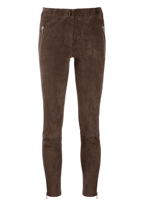 Arma skinny suede trousers - Brown