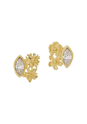 Alex Monroe 18kt yellow gold Floral Cluster marquise diamond studs