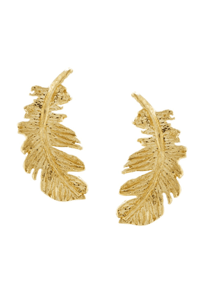 Alex Monroe 18kt yellow gold Plume Feather stud earrings