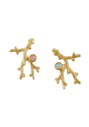 Alex Monroe 18kt yellow gold Coral Opal Branch stud earrings