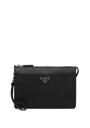 Prada logo clutch bag - Black