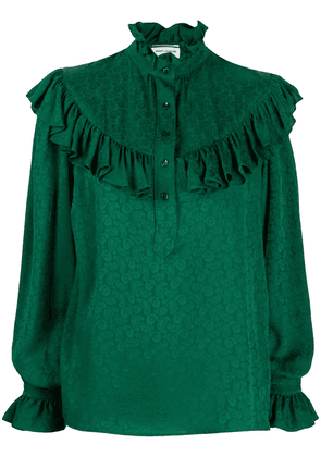Saint Laurent paisley print frilled blouse - Green