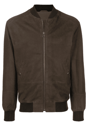 Mr & Mrs Italy branded leather bomber jacket - Brown