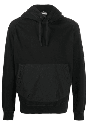 Stone Island Shadow Project crinkled effect front pocket hoodie - Black