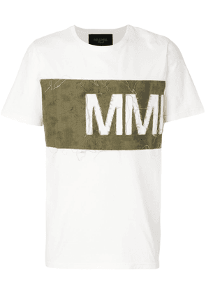 Mr & Mrs Italy distressed logo panel T-shirt - White