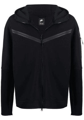 Nike embroidered logo zip-up hoodie - Black