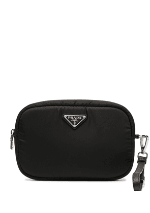 Prada logo plaque clutch bag - Black