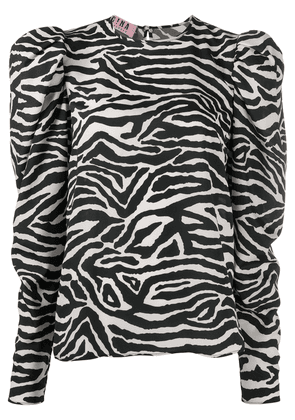 Gina zebra-print puff-sleeved blouse - Black