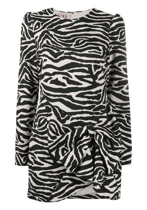 Gina zebra-print mini dress - Black