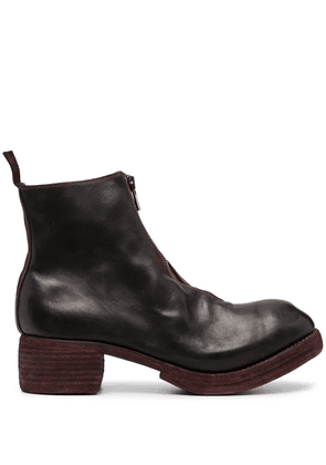 Guidi front zip ankle boots - Red