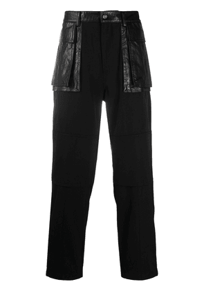 Juun.J faux leather-panelled trousers - Black