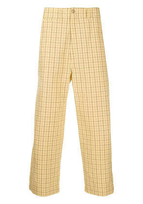 Gucci cat-embroidered checked trousers - Yellow