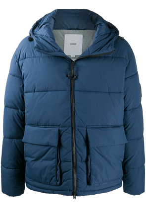 Closed hooded puffer jacket - Blue
