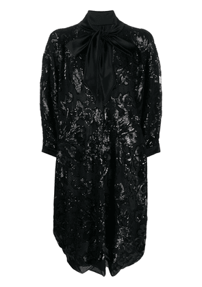 Gianluca Capannolo oversized sequin shirt dress with pussy bow detail - Black