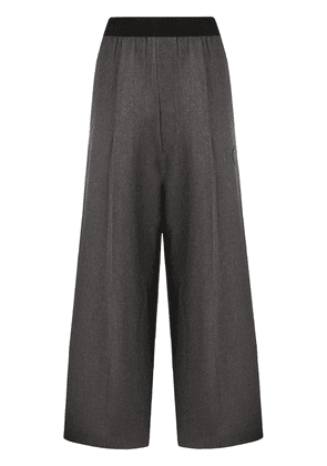 We11done logo-patch wide trousers - Grey