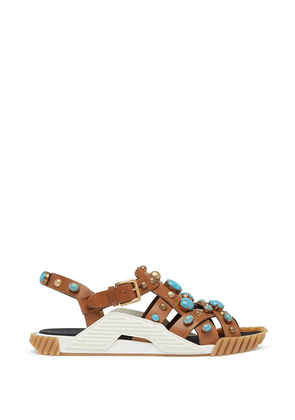 Dolce & Gabbana bead-embellished strappy sandals - Brown