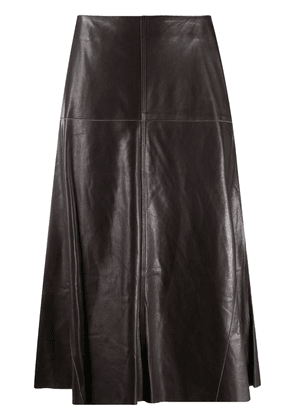 Arma high-waisted leather midi skirt - Brown