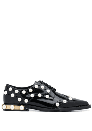 Dolce & Gabbana embellished perforated lace-up shoes - Black