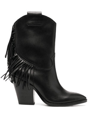 Ash tasselled leather boots - Black