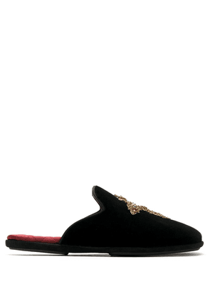 Dolce & Gabbana embroidered cross slippers - Black
