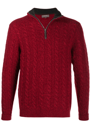 N.Peal cable-knit zipped jumper - Red