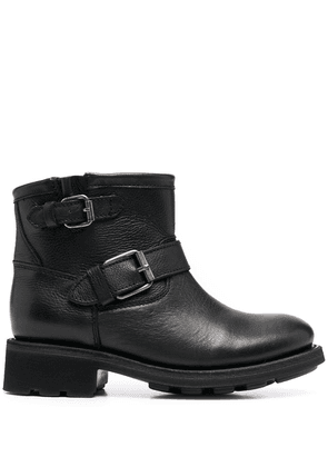 Ash buckle-strap leather ankle boots - Black