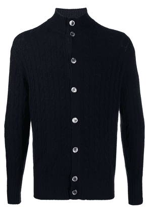 N.Peal cable button cashmere cardigan - Blue