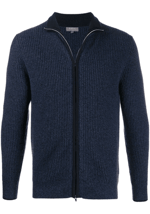 N.Peal ribbed zip-up cashmere cardigan - Blue