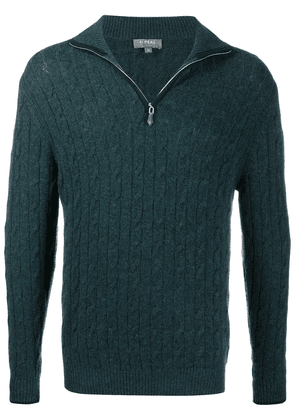 N.Peal cable-knit zipped cashmere jumper - Green