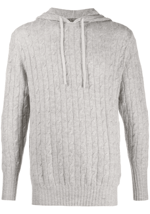 N.Peal cable knit cashmere hoodie - Grey