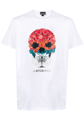 Just Cavalli floral skull-print short sleeved T-shirt - White