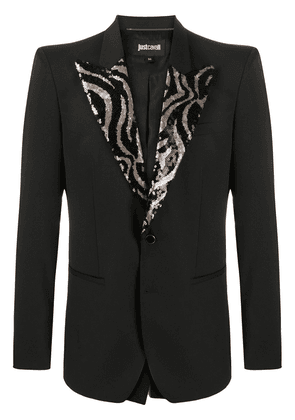 Just Cavalli embellished-lapel single breasted blazer - Black