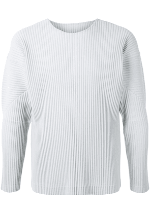 Homme Plissé Issey Miyake long-sleeved pleat detail shirt - Grey