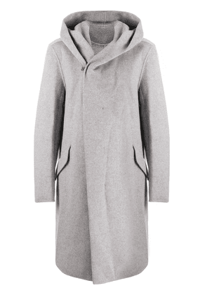 Attachment double-breasted hooded coat - Grey