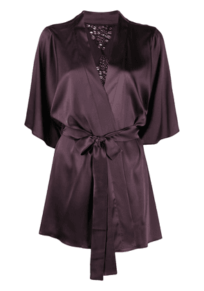 Fleur Of England embellished silk-blend robe - PURPLE