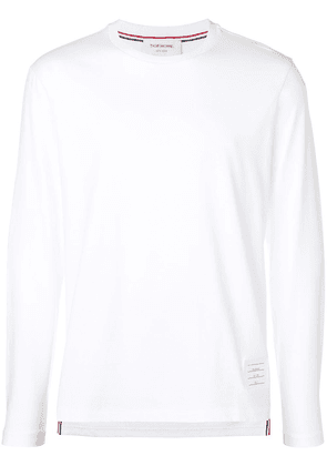 Thom Browne Side Slit Relaxed Fit Long Sleeve Jersey Tee - White