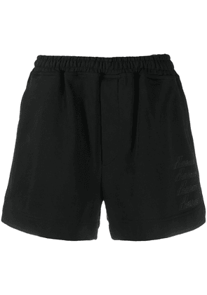 We11done metallic logo jersey shorts - Black