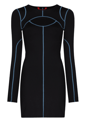Eckhaus Latta Atomic Sport long-sleeve mini dress - Black