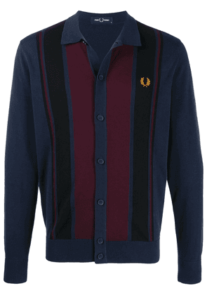 Fred Perry colour-block knitted cardigan - Blue