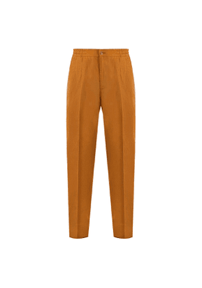Brown Pleated Linen Drawstring Trousers